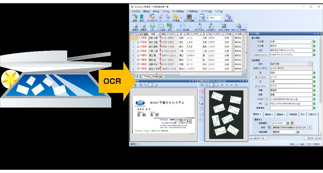 富士ゼロックス製複合機やその他スキャナから名刺画像を取り込み、DocuWorks文書に変換することができます。名刺画像の文字認識(OCR)結果のリスト表示や、分割された